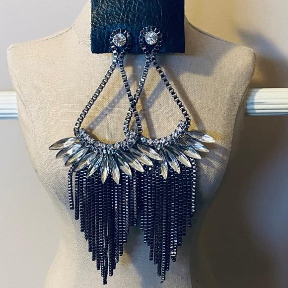 Chandelier Gunmetal Earrings